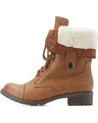 Charlotte Russe - Shearling-lined Combat Boots - Lyst