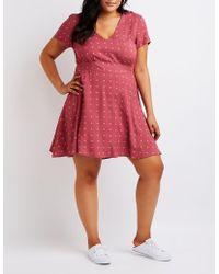 Charlotte Russe - Plus Size Printed V-neck Dress - Lyst