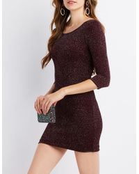 7b47783531b1 Lyst - Charlotte Russe Glitter & Mesh Bodycon Dress in Black