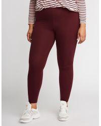 091aceba88b673 Charlotte Russe - Plus Size Solid Stretch Cotton Leggings - Lyst