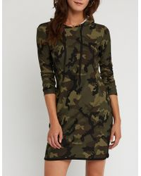 Charlotte Russe - Printed Hooded Bodycon Dress - Lyst
