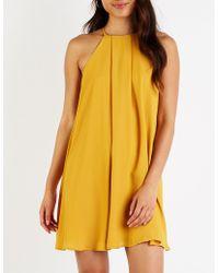 5eb0f6ed8665 Lyst - Charlotte Russe Floral Bib Neck Shift Dress in Yellow