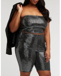 4be61d45dc0 Lyst - Charlotte Russe Plus Size Knotted Metallic Mesh Top in Black