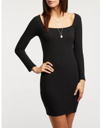Charlotte Russe - Square Neck Bodycon Sweater Dress - Lyst