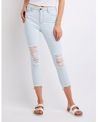 Charlotte Russe - Cello Destroyed Skinny Jeans - Lyst