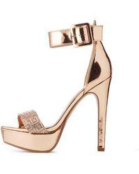 6106c308f1c1 Charlotte Russe - Metallic Ankle Strap Platform Stilettos - Lyst