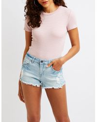 Charlotte Russe - Striped Ringer Tee - Lyst