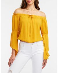 6a82967151c329 Lyst - Charlotte Russe Striped Tie-front Off-the-shoulder Top in White