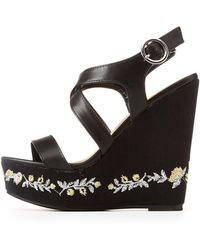 Charlotte Russe - Embroidered Two-piece Wedge Sandals - Lyst