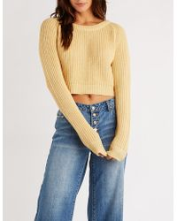 Charlotte Russe - Crew Neck Crop Pullover Sweater - Lyst