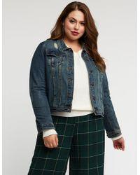Charlotte Russe - Plus Size Destroyed Denim Jacket - Lyst