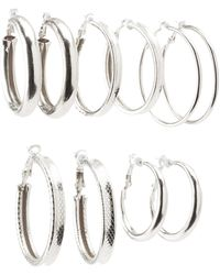 Charlotte Russe - Textured Hoop Earrings - 6pack - Lyst