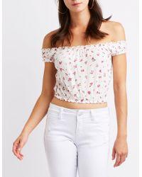 02882344859d8a Lyst - Charlotte Russe Floral Smocked Off-the-shoulder Crop Top