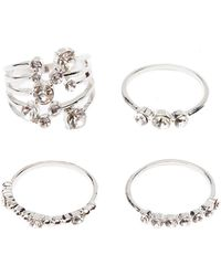 Charlotte Russe - Crystal Stacking Rings - 4 Pack - Lyst