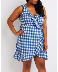 Charlotte Russe - Plus Size Gingham Wrap Dress - Lyst