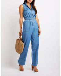 ddee70897545 Lyst - Cupcakes And Cashmere Hoffman Chambray Jumpsuit in Blue