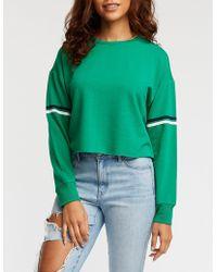 Charlotte Russe - Striped Sleeve Crop Sweatshirt - Lyst