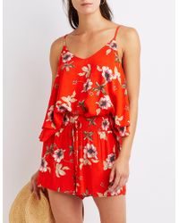 Charlotte Russe - Floral Smocked Shorts - Lyst