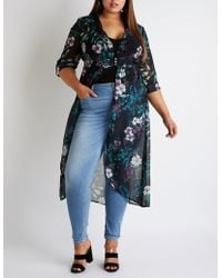 Charlotte Russe - Plus Size Floral High Low Button Up Top - Lyst