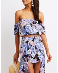 0b8f4314d05 Lyst - Charlotte Russe Plus Size Printed Off-the-shoulder Crop Top ...