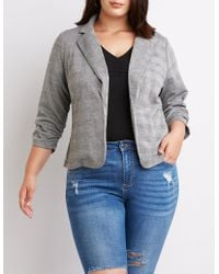 Charlotte Russe - Plus Size Ruched Detailed Open-front Blazer - Lyst