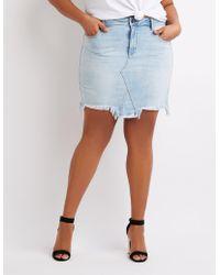 996083228c Lyst - Charlotte Russe Plus Size Refuge Destroyed Denim Mini Skirt ...