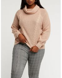 Charlotte Russe - Plus Size Cowl Neck Cable Knit Pullover Sweater - Lyst