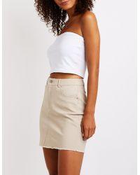 Charlotte Russe - Frayed Hem Mini Skirt - Lyst