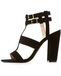 3ed85d07cf71 Lyst - Charlotte Russe Caged Lace-up Sandals in Black