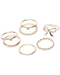 Charlotte Russe - Metal Stacking Rings - 7 Pack - Lyst