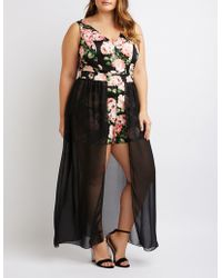 a342c517e44 Lyst - Charlotte Russe Embroidered Layered Maxi Romper in Black