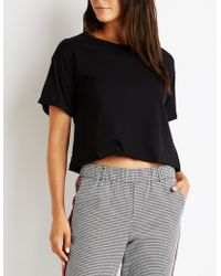 Charlotte Russe - Rolled Sleeve Crew Neck Tee - Lyst