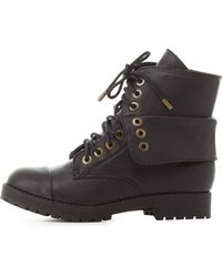Charlotte Russe - Bamboo Folded Combat Boots - Lyst