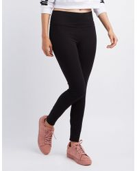 Charlotte Russe - High-waisted Stretch Cotton Leggings - Lyst