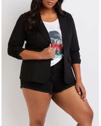 Charlotte Russe - Plus Size Ruched Sleeve Blazer - Lyst