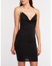 e5b7435f0cb Lyst - Charlotte Russe Asymmetrical Bodycon Dress in Black