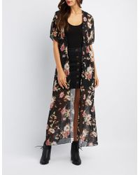 Charlotte Russe - Floral Tie-front Duster Kimono - Lyst