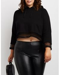 8106cf77305 Charlotte Russe - Plus Size Cropped Fishnet Hoodie - Lyst