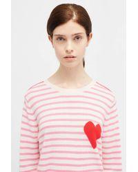 Chinti & Parker - Pink Stripe Sleeve Sweater - Lyst