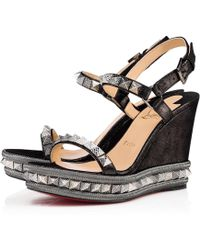 Christian Louboutin - Pyraclou Suede Lame 110 Noir Suede - Lyst