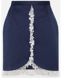 Christopher Kane Pearl Embellished Mini Skirt - Blue