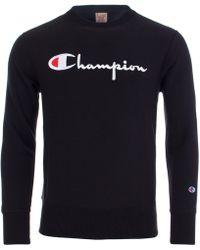 Champion - Script Logo Reverse Weave Sweatshirt - Lyst
