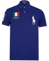033bde4ce Polo Ralph Lauren Custom Slim Fit Italy Polo in Blue for Men - Lyst