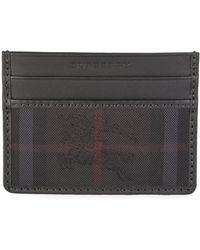 Burberry - 'sandon' Check Card Wallet Black - Lyst