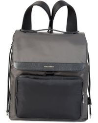 3043ac3c04 Dolce   Gabbana Fabric Backpack With Leather Motifs in Black for Men ...