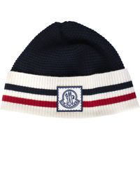 89de783be4a Moncler Navy Cable-knit Wool Beanie in Blue for Men - Lyst