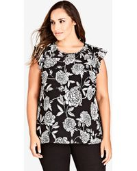 City Chic - Rosa Smock Floral Top - Lyst