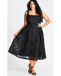 City Chic - Black Jackie O Fit & Flare Dress - Lyst
