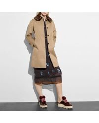 COACH - Leather Trim Coat - Lyst