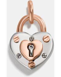COACH - Padlock Heart Charm - Lyst